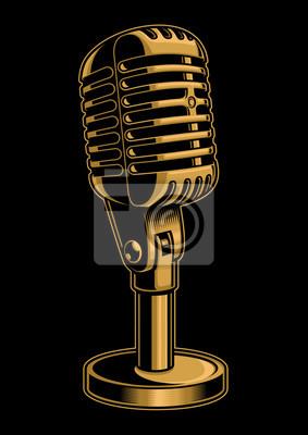 Vector illustration of color microphone on dark background