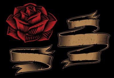 Vector illustration of ribbons and rose