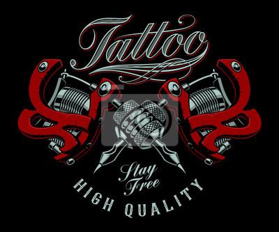 Vector illustration of tattoo machines