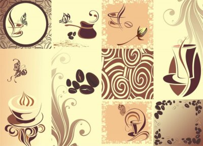 Plakat Vector kawy backgroundwith butterfly