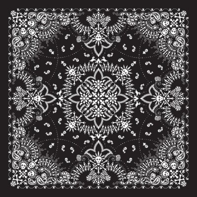 Plakat Vector ornament paisley, skulls and bones Bandana Print, fabric neck scarf or kerchief square pattern Pirate design style for print on textile.