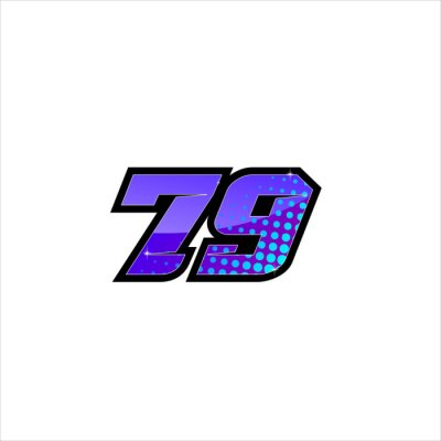 Plakat Vector Racing number 79, start racing number, sport race number with purple blue color and halftone dots style isolated on white background
