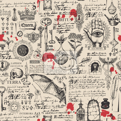 Plakat Vector seamless background on the theme of alchemy, magic, witchcraft and mysticism with various esoteric and occult symbols, sketches, blots. The Latin words Spirit, Land, Secret, Interior, Stone