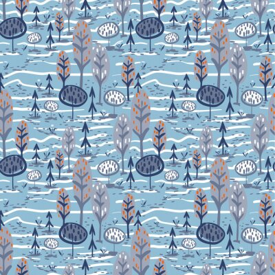 vector seamless colorful pattern. Backdrop image with cute doodle-style nature parts: trees, grass, and flowers