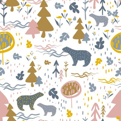 vector seamless colorful pattern. Backdrop image with cute doodle-style trees, flowers, and bear's silhouette