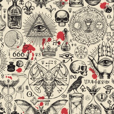 Plakat Vector seamless pattern on a theme of freemasonry, satanism and occultism in retro style. Abstract repeating illustration with hand-drawn sketches and blood drops on the old paper background