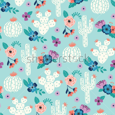 Plakat Vector seamless pattern with hand drawn cactus and floral bouquets on a blue background