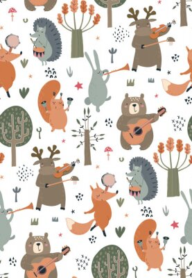 Plakat Vector seamless pattern with hand drawn wild forest animals with musical instruments.