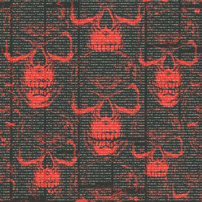 Vector seamless pattern with with old magazine or newspaper columns on a black and red background with sinister human skulls. Suitable for wallpaper, wrapping paper, textiles, fabric, backdrop