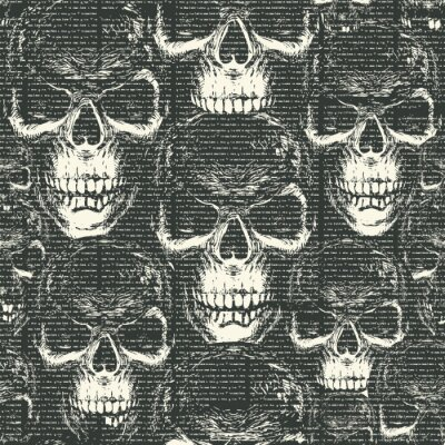 Vector seamless pattern with with old magazine or newspaper columns on a black backdrop with ominous human skulls in retro style. Suitable for wallpaper, wrapping paper, textiles, fabric, background