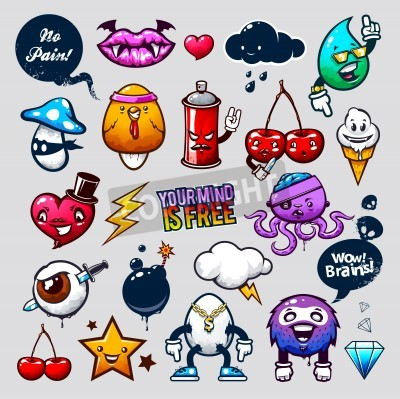 Plakat Vector set of graffiti bizarre characters.