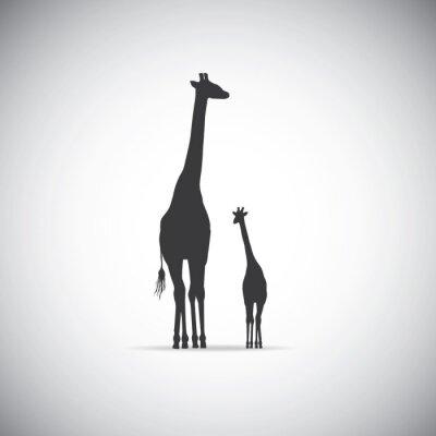 Plakat Vector sylwetka żyrafy matki z dzieckiem