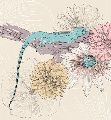 Plakat vector szkic jaszczurki słodkimi kwiatami