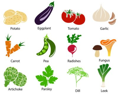 Plakat Vegetable Icons With Title