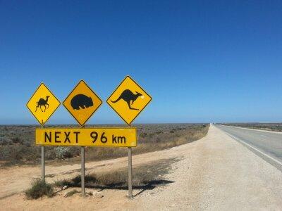 Plakat Verkehrsschild Kolejne 96 km im Outback, Australia