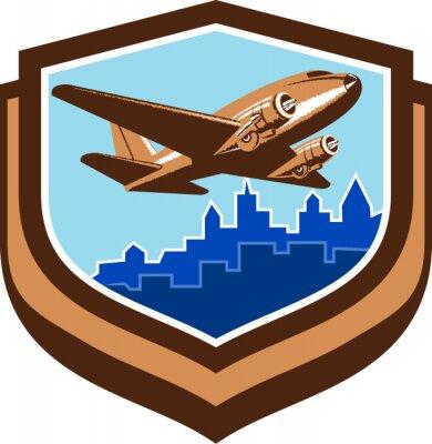 Plakat Vintage Airplane Take Off Cityscape Tarcza Retro