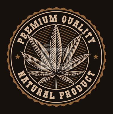 Vintage badge of a cannabis leaf.
