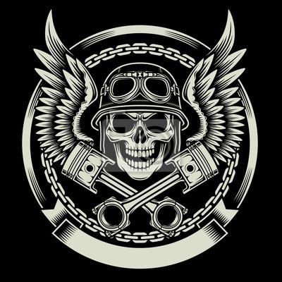 Plakat Vintage Biker Czaszka z Wings i tłoki Godło