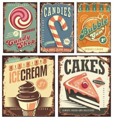 Plakat Vintage candy shop zbiór znaków cyny