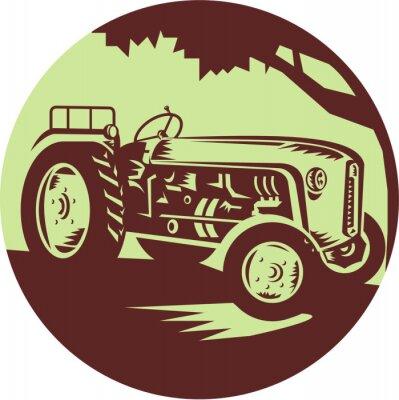 Plakat Vintage Ciągniki rolnicze Koło Drzeworyt