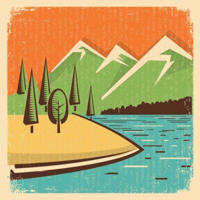 Plakat Vintage Góry Natura krajobraz