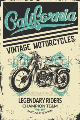 Plakat Vintage motorcycle placard with motorbike. Vector illustration.