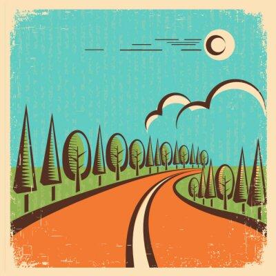 Plakat Vintage Nature landscape with road