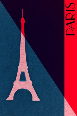 Plakat Vintage Paris pocztowe - Kaligrafia - ręcznie literami design elemen