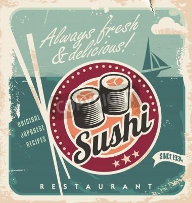 Plakat Vintage plakat do japońskiej restauracji. Retro tło wektor z sushi.