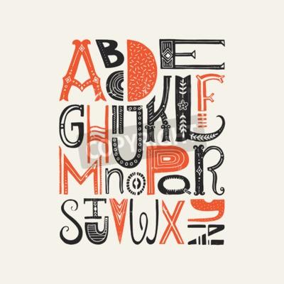 Plakat Vintage plakat z unikatowymi listami alfabetu łacińskiego. Wektor czcionki lub typografia.