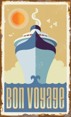 Plakat Vintage retro statek wycieczkowy wektorowych projektowania - plakat znak metalu