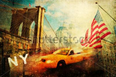 Plakat vintage style collage of New York city symbols