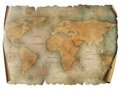 Plakat Vintage world map parchment isolated on white. Based on image furnished from NASA.