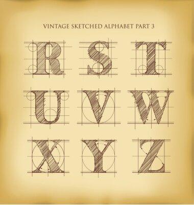 Plakat Vintage wyciągnąć rękę alfabet