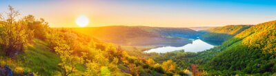 Plakat Vivid sunrise landscape in the national nature park Podilski Tovtry, canyon and Studenytsia river is tributary of Dnister river, view from above