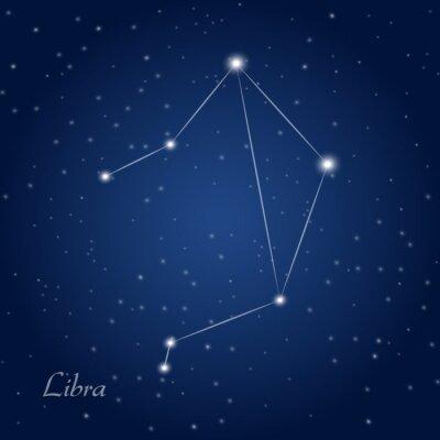 Plakat Waga gwiazdozbiór zodiakalny na rozgwieżdżone niebo