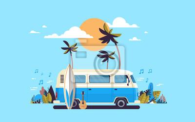 Plakat Wakacje surfuje autobusowego zmierzchu tropikalnej plaży surfingu rocznika melodii retro kartka z pozdrowieniami szablonu horyzontalnego plakatowego płaskiego wektorową ilustrację
