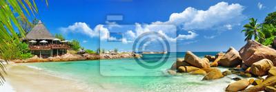 Plakat wakacje w tropikalnym raju. Seszele wyspy
