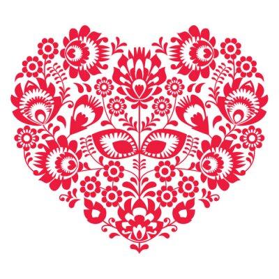 Plakat Walentynki sztuka ludowa czerwone serce - polski wzór