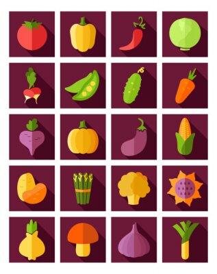 Plakat Warzywa płaskim ikona z długim cieniem