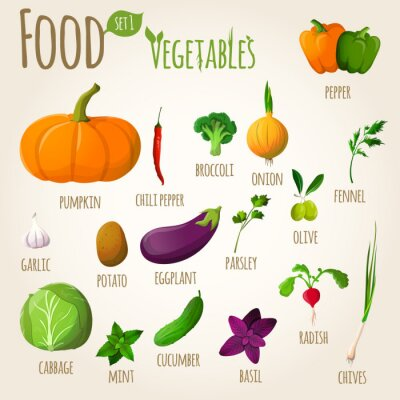 Plakat Warzywa Żywność zestaw