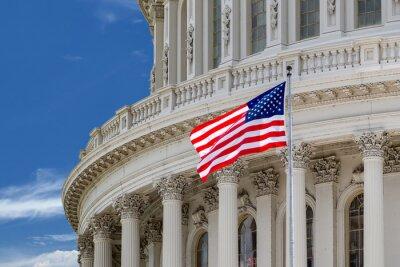 Plakat Washington DC Capitol szczegół na pochmurne niebo