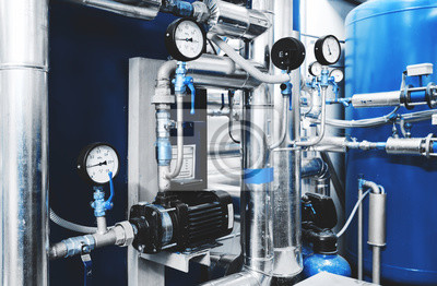 Plakat Water treatment pump and pipes with installed pressure gauges for pressure control. Expansion Tank Ventilation System. Blue toning