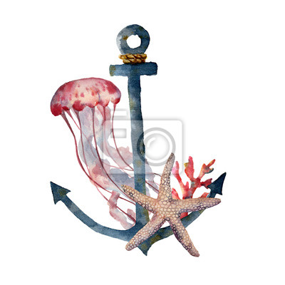 Plakat Watercolor anchor with jellyfish and coral. Hand painted underwater illustration with starfish, coral reef isolated on white background. Nautical illustration for design.