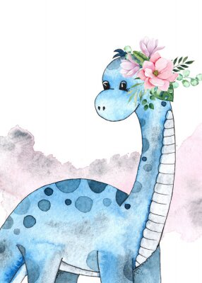 Plakat Watercolor and graphic dinosaurs pre-made cards with Brachiosaurus, Stegosaurus on white background with watercolor shapes