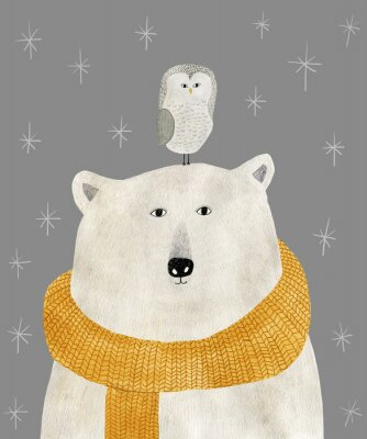 Plakat watercolor and pencil drawing of a polar bear with an owl on his head. Christmas illustration