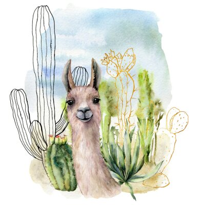 Plakat Watercolor and sketch desert landscapes card with lama. Hand painted golden and black mexican cactus, sky and clouds. Botanical illustration isolated on white background for design, print, fabric.