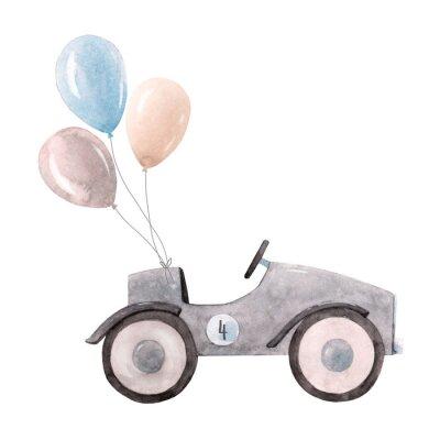 Plakat Watercolor baby car illustration