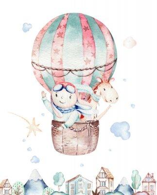 Plakat Watercolor balloon set baby cartoon cute pilot aviation illustration. sky transport balloons with giraffe and elephant, koala, bear and bird, clouds. childish baby boy shower illustration