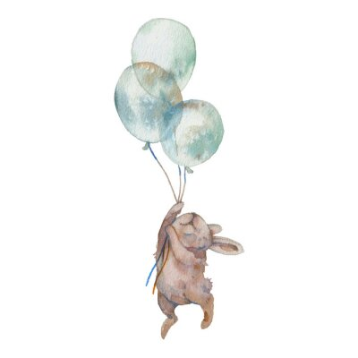 Plakat Watercolor bunny with air balloons illustration. Hand painted rabbit fly. Cute animal isolated on white background. Cartoon hare in boho chic style